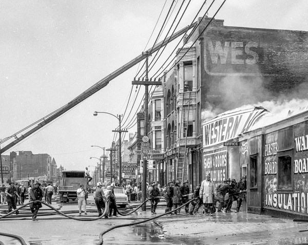 historic fire scene photo in Chicago with Fire Commissioner Robert J Quinn