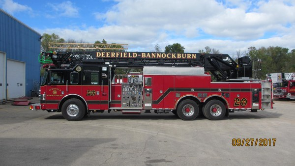 Deerfield Bannockburn FPD Truck 20 after being refurbished by Pierce