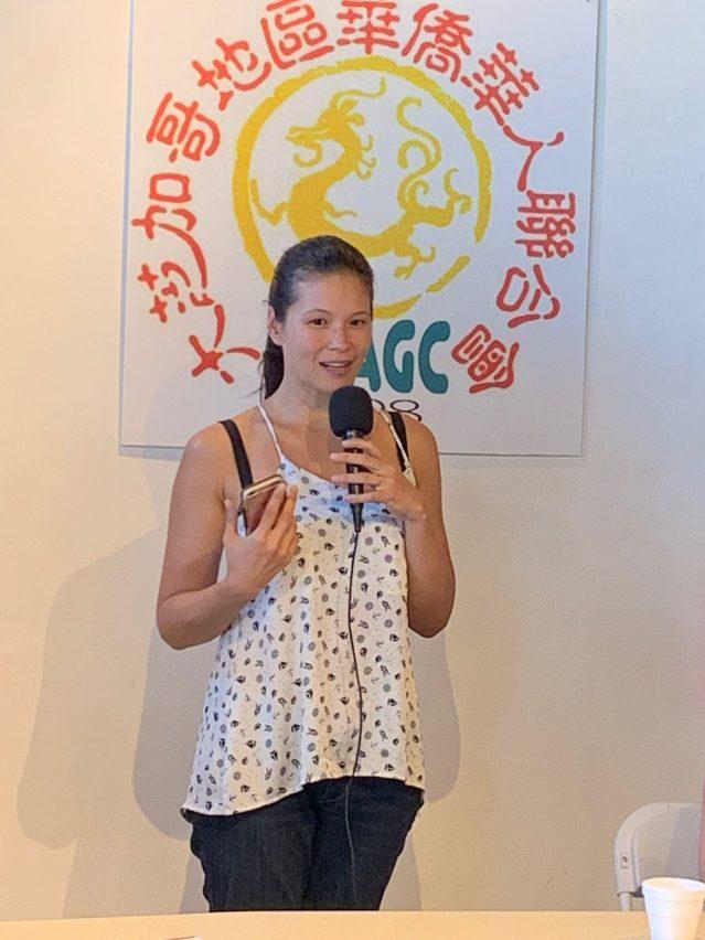 照片五:25區區長盧漢士夫人玲玲表示大力支持遊行活動