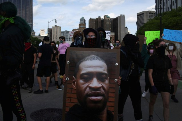 FILE PHOTO: Protest against the death in Minneapolis police custody of African-American man George Floyd and the assault of Sha'Teina and Dan Grady El by Washtenaw County police, in Detroit