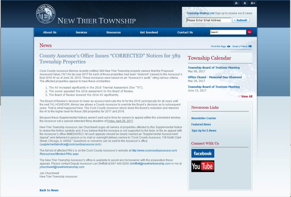 New Trier Assessor notice