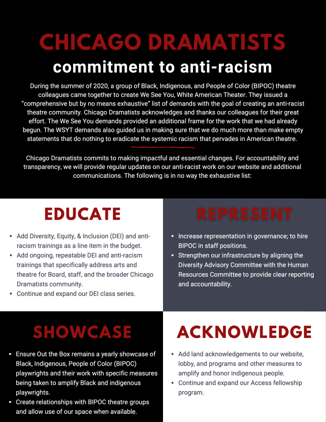 """Chicago Dramatists Commitment to anti-racism.  During the Summer of 202, a group of Balck, Indigenous, and People of Color (BIPOC) theatre colleagues came together to create WE See You, White American Theater. They issued a """"comprehensive but by no means exhaustive"""" list of demands with the goal of creating an anti-racist theatre community. Chicago Dramatists acknowledges and thanks our colleagues for their great effort. The We See You demands provided an additional frame for the work that we had already begun. The WSYT demands also guided us in making sure that we do much more than make empty statements that do nothing to eradicate the systemic racism that pervades in American Theatre.  Chicago Dramatists commits to making impactful and essential changes. For accountability and transparency, we will provide regular updates on our anti-racist work on our website and additional communications. The following is in no way the exhaustive list:  Education: Add Diversity, Equity & Inclusion (DEI) and anti-racism trainings as a line item in the budget. Add ongoing, repeatable DEI and anti-racism trainings that specifically address arts and theatre for Board, staff, and the broader Chicago Dramatists community. Continue and expand our DEI class series.  Represent: Increase representation in governance; to hire BIPOC in staff positions. Strengthen our infrastructure by aligning the Diversity Advisory Committee with the Human Resources Committee to provide clear reporting and accountability.  Showcase: Ensure Out the Box remains a yearly showcase of BIPOC playwrights and their work with specific measures being taken to amplify Black and Indigenous playwrights. Create relationships with BIPOC theatre groups and allow use of our space when available.  Acknowledge: Add land acknowledgements to our website, lobby, and programs and other measures to amplify and honor indigenous people. Continue and expand our Access fellowship program."""