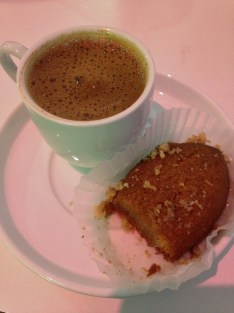 Greek coffee and melamakarona at Hellas Bakery, Tarpon Springs, Florida
