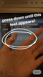 Boomerang from LIVE mode picture