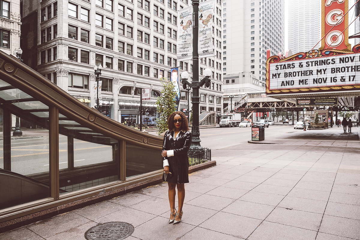 Kari Herrera in front of Chicago Theater