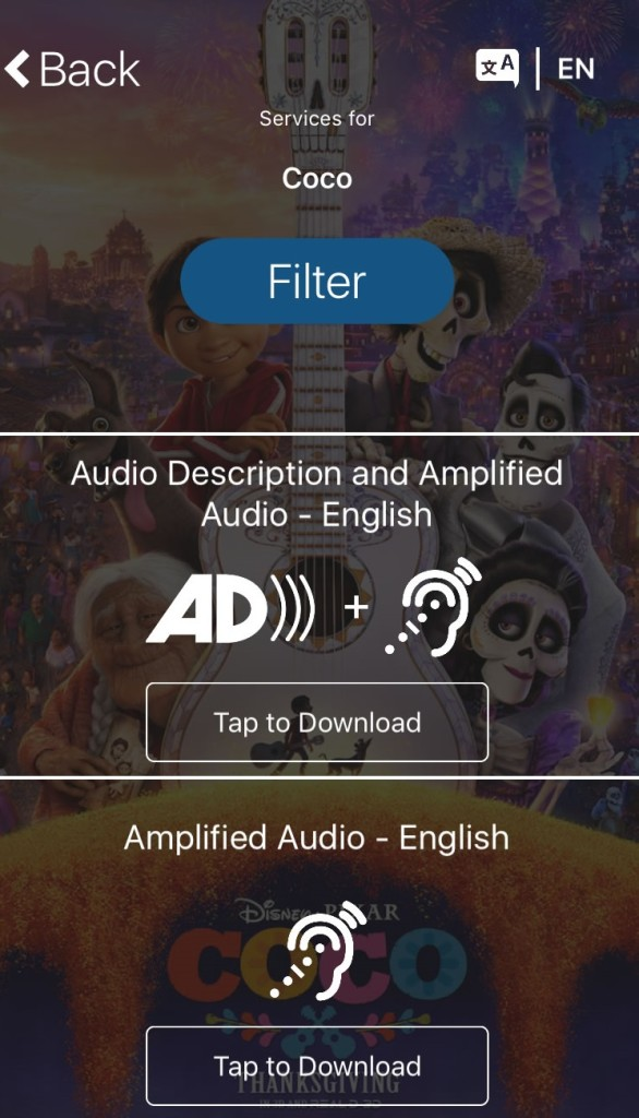 Screenshot of services available for watching Coco with the Actiview app.