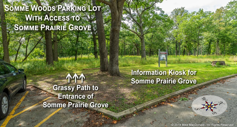 Parking lot of Somme Woods where there's a path leading to Somme Prairie Grove.