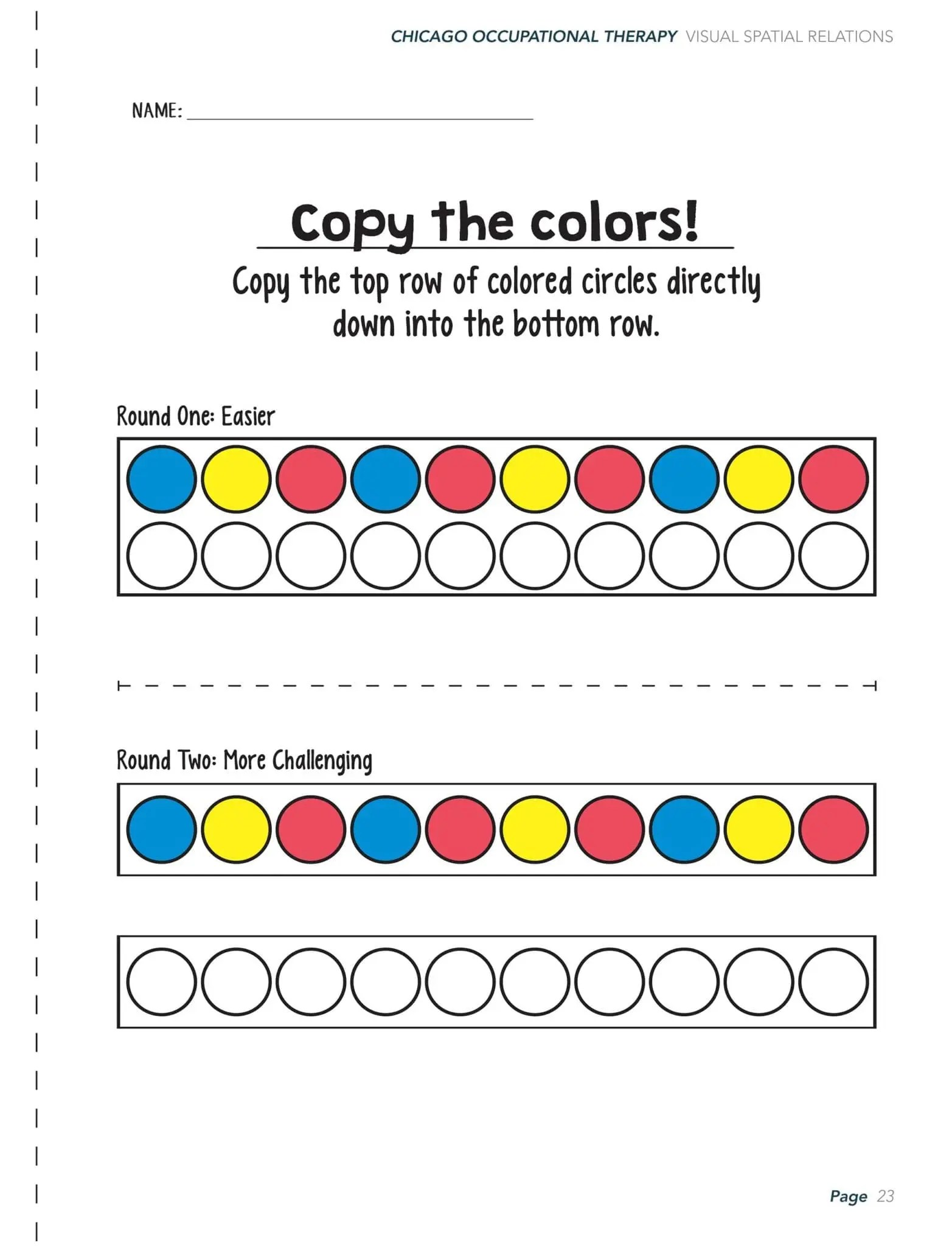 Visual Perceptual Activity Worksheets