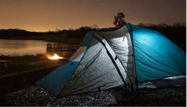 A tent campsite overlooking Bullfrog Lake. Image from: Forest Preserves of Cook County website