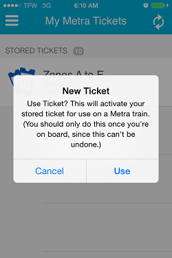 Ventra App Metra Ticket screen 15