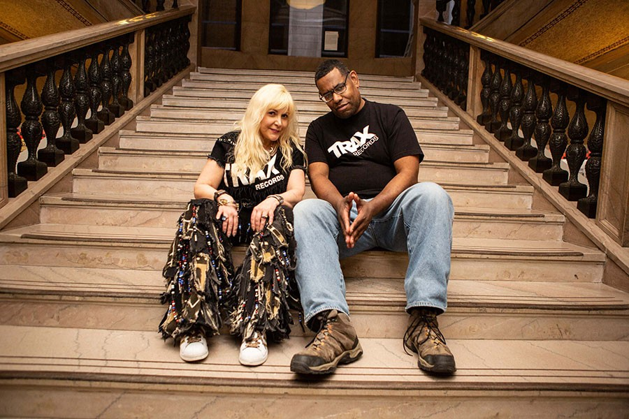 """Trax Records star """"Screamin' Rachael"""" Cain, who's run the label since rebooting it in 2007, at the Cultural Center with Marcus """"Mixx"""" Shannon"""
