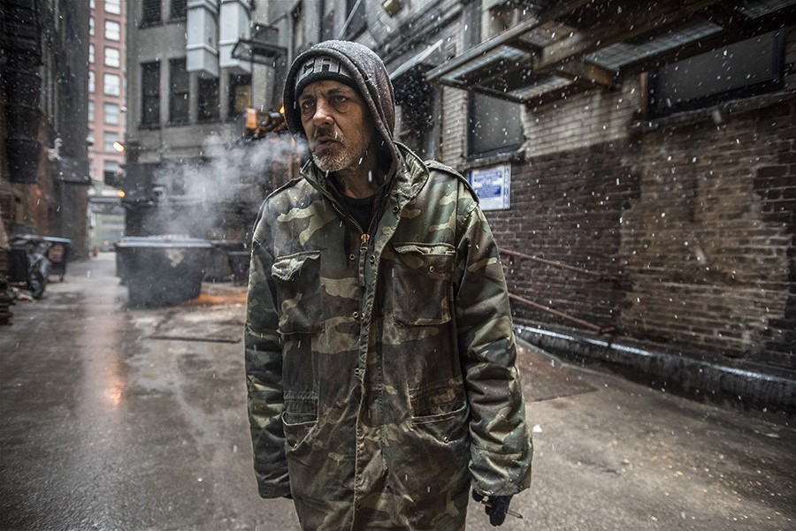 Jimmy in an alley during a snowstorm; March 22, 2020