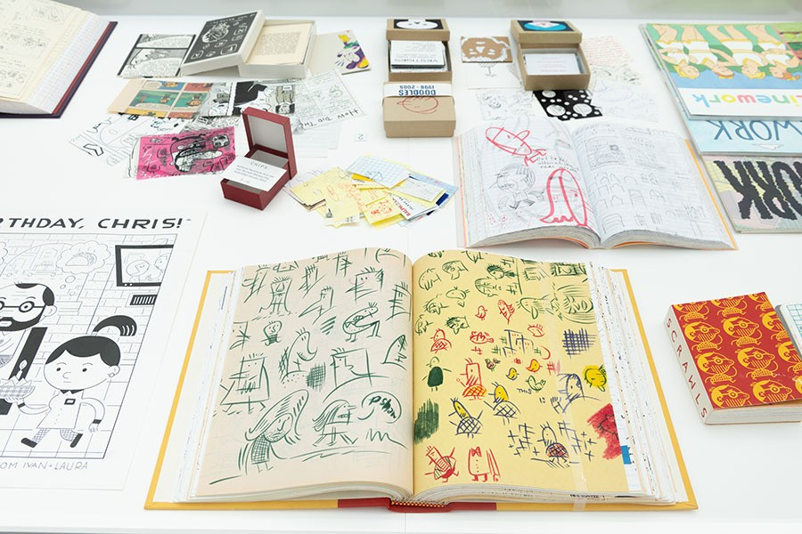 """An installation view of work by artist Ivan Brunetti and others in the exhibition """"Chicago Comics: 1960s to Now."""""""