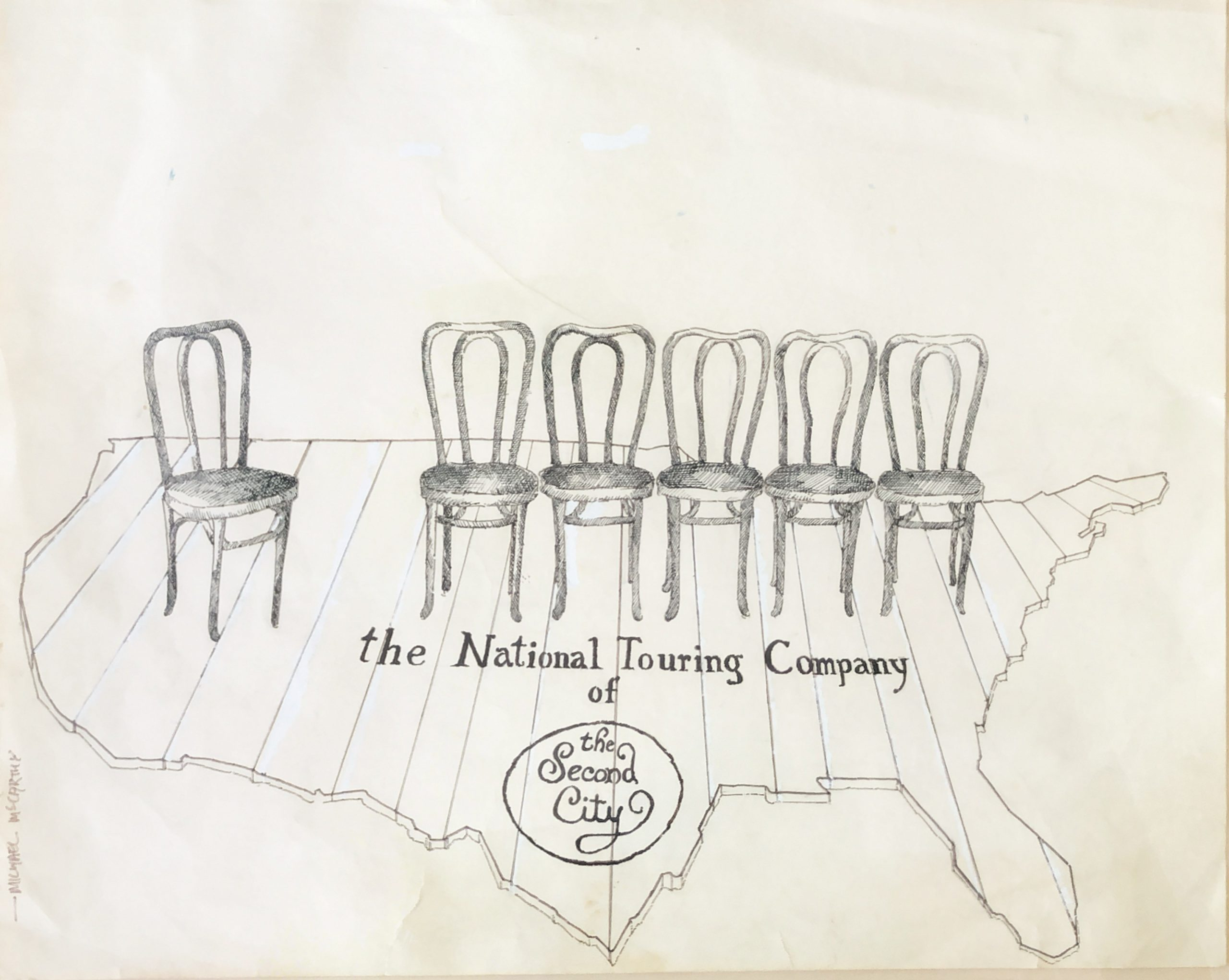 This drawing by Michael McCarthy hung in Joyce Sloane's Second City office.