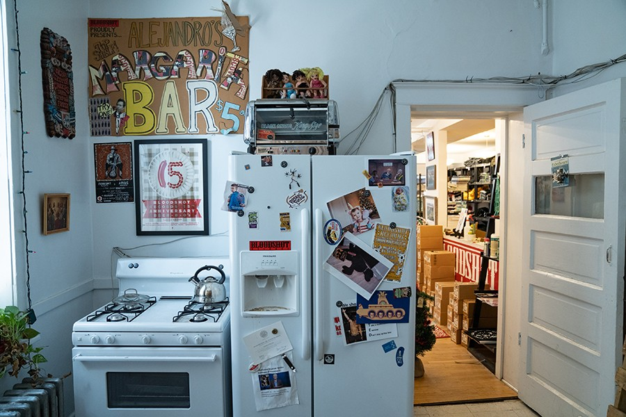Some rooms make it more obvious than others that the Bloodshot Records offices occupy a converted apartment.