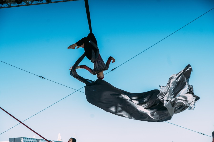 Taking the leap into outdoor performances: Chloe Jensen of Aerial Dance Chicago at the May 29 launch of Chicago Dance Month at Navy Pier