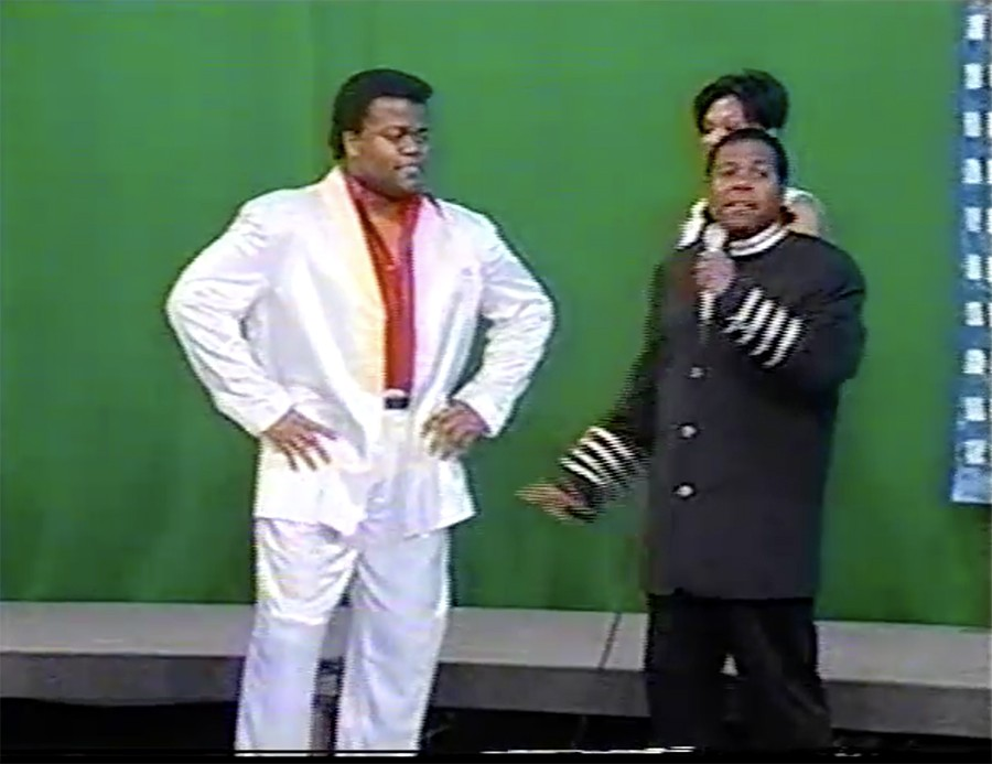 """Melvin """"the Alexander"""" Dunlap and Andrew Kitchen in 1996, on the <i>Attack of the Boogie</i> set at CAN TV"""