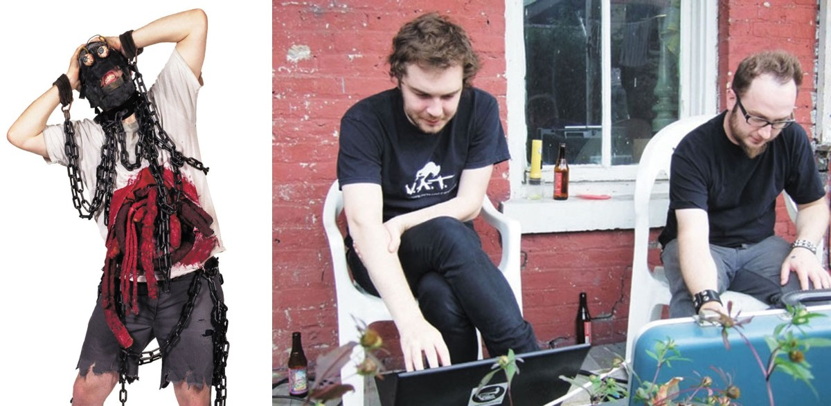 JBOT, of Captured! by Robots (left), was interviewed by Jon Cates and Jake Elliott of Dorkbot