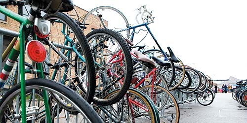 Bike parking at the Hideout Block Party two weeks ago