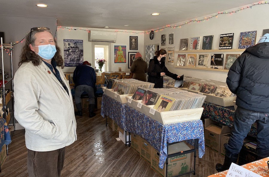 Black Squirrel Records owner Michael Dedmon welcomes customers to the shop.