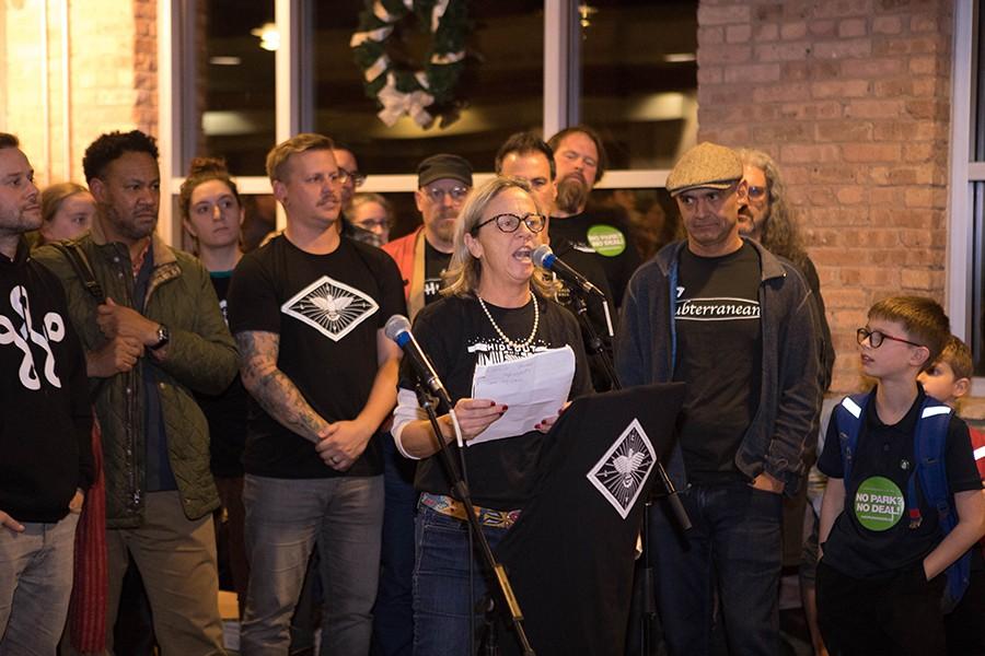 Hideout co-owner Katie Tuten speaks at a CIVL meeting in November 2018.