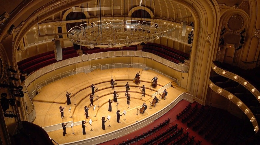 Music from an empty hall: the CSO performs Tchaikovsky's <i>Serenade for Strings</i> for CSOtv.