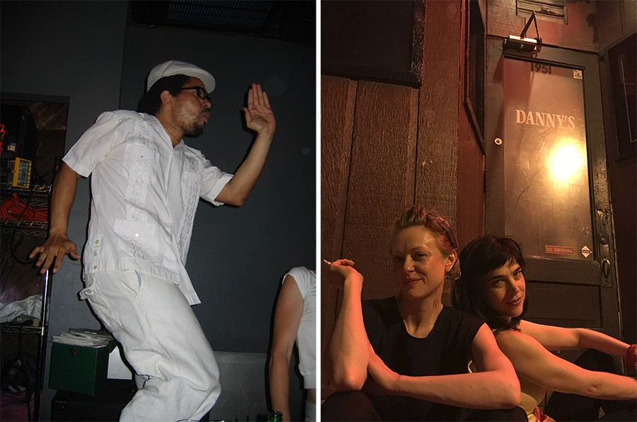 """Damon Locks of the Eternals and the Black Monument Ensemble at a Danny's """"white out party""""; Tanja Buhler and Jamie Hayes, who DJed the bar's Party Line nights"""