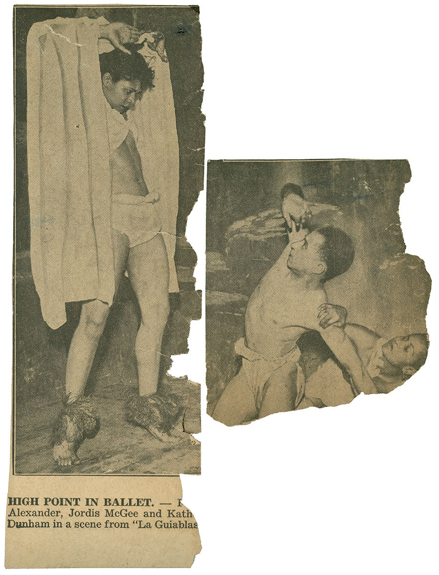 A newspaper clipping shows Katherine Dunham in the title role of <i>La Guiablesse</i>, likely in 1934.