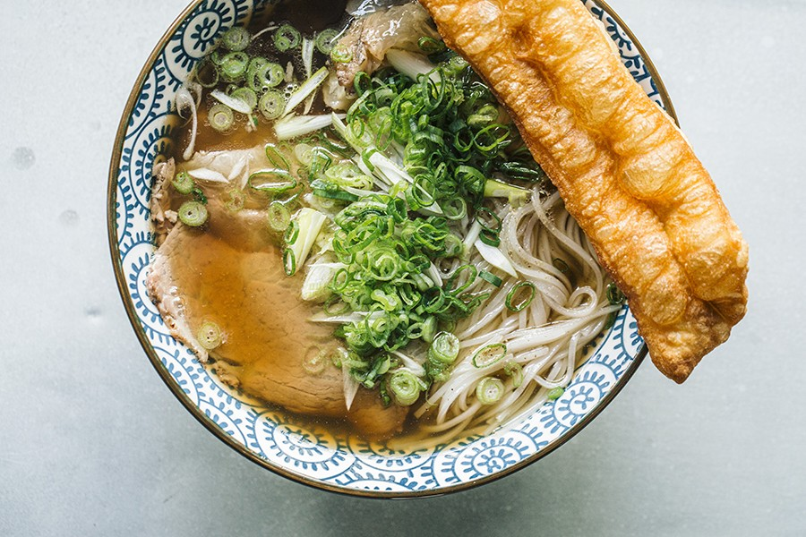 Hanoi-style pho with Chinese-style crullers