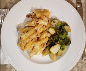 Mac and cheese—and Brussels sprouts