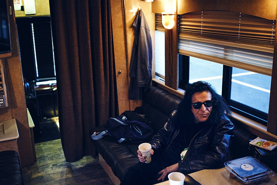 Coleman on the tour bus in the United Center lot