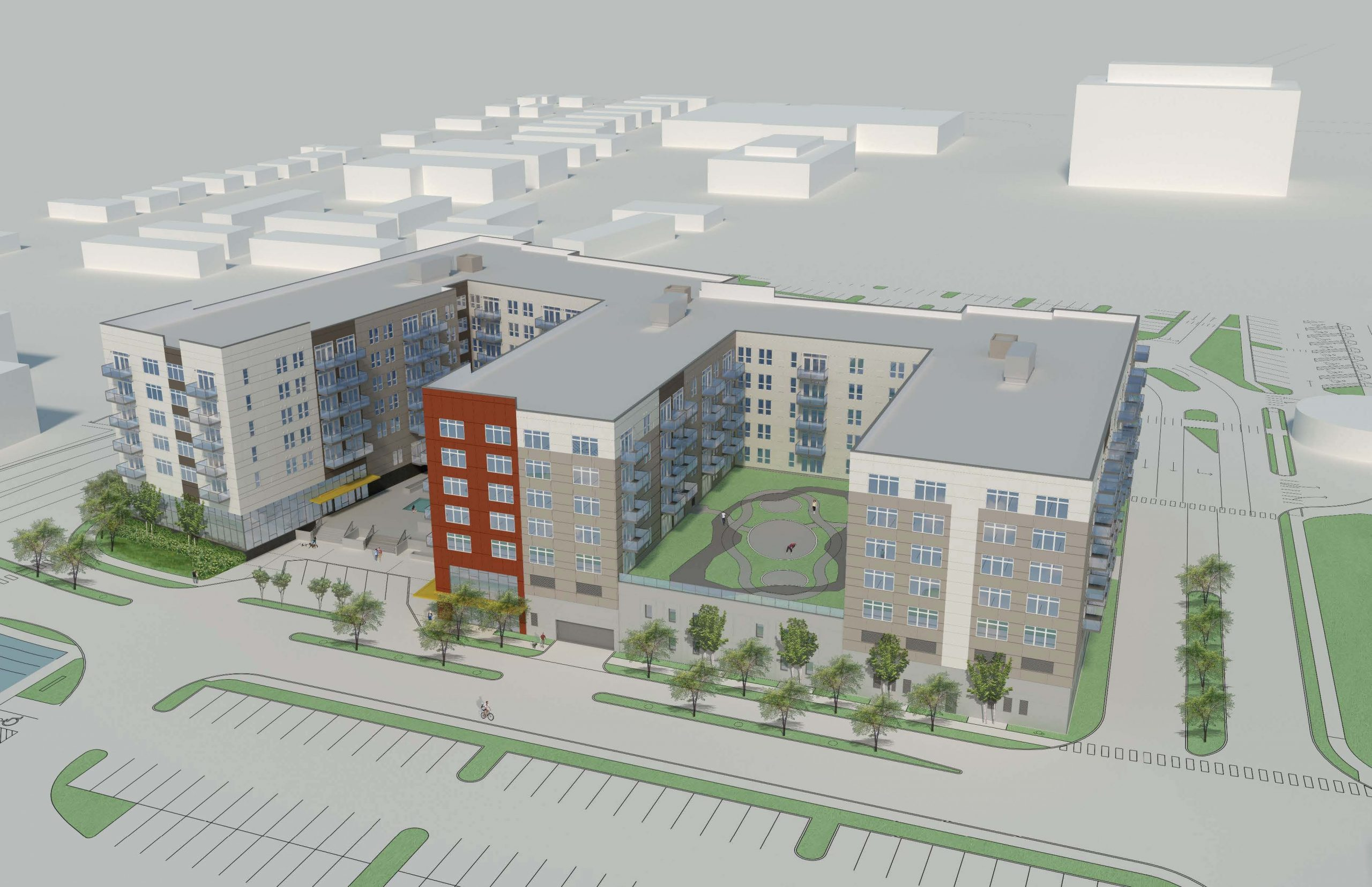 Rendering of the proposed apartment development in Napolitano's ward