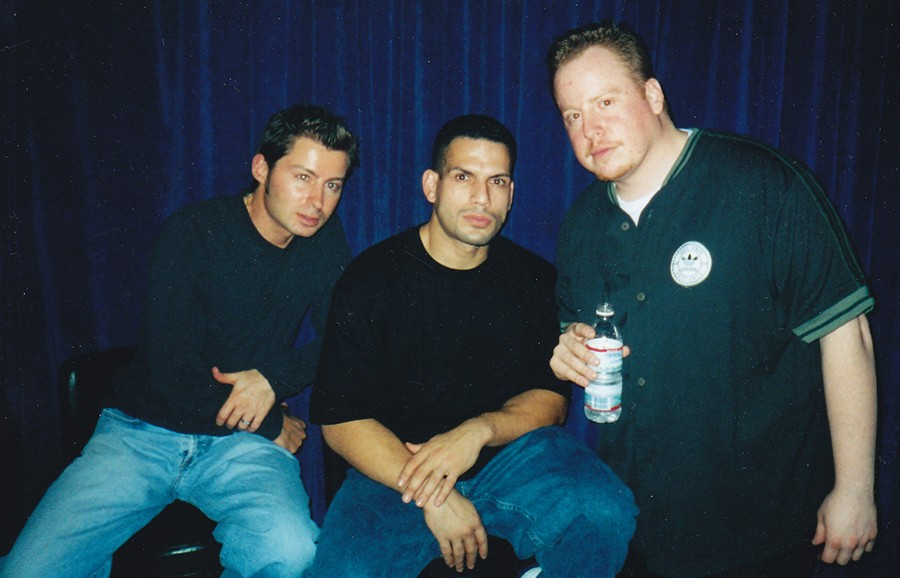 Pumpin' Pete, DJ Nonstop, and Jesse de la Peña at Blue Groove in 2003, during its brief stint at the Blue Note