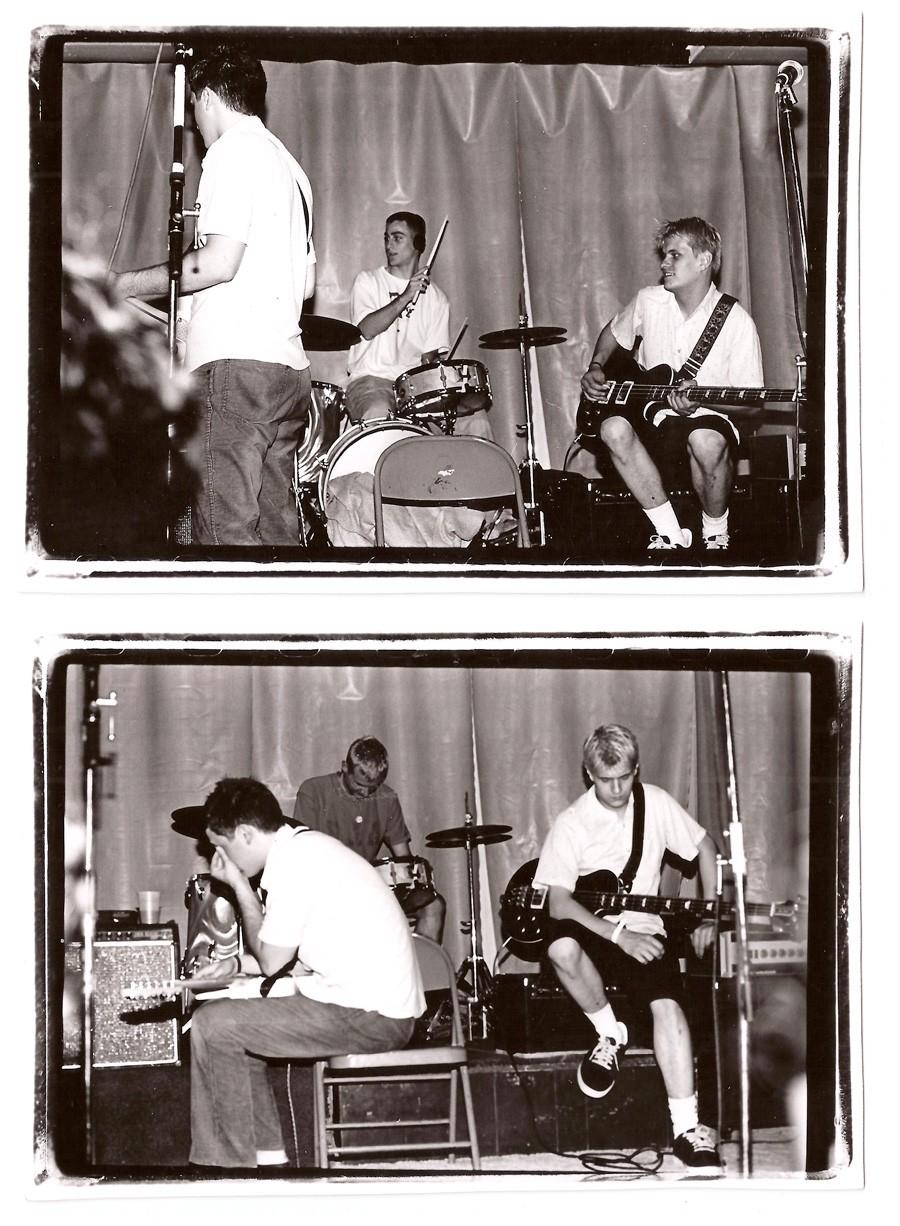 Joan of Arc play live, probably in summer 1996. Top: Tim Kinsella, Mike Kinsella, and Erik Bocek. Bottom: Tim Kinsella, Sam Zurick, and Erik Bocek.