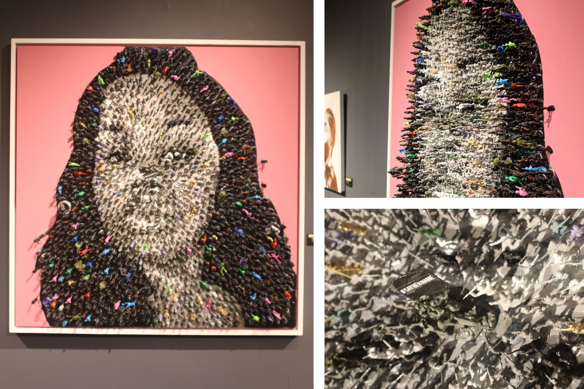 """<i>Say Her Name</i> by Roger Carter is a mixed media piece that utilizes toy army action figures to create a three-dimensional portrait of Breonna Taylor, who Kentucky police fatally shot in her apartment in 2020. Getting close to the piece, visitors can see that the toys are holding up a flag that says, """"#SAYHERNAME."""""""