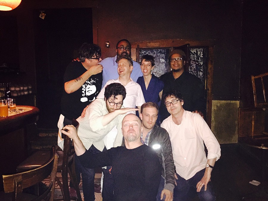 Danny's staffers and DJs: in back, Desmond Taylor (blue shirt); last row, Stephen Sowley, Courtland Green, Kate Ruggeri, and Jeff Parker; front row, Ross Winston, Hans Ballard (black shirt), Josh McCowan, and Kevin Stacy
