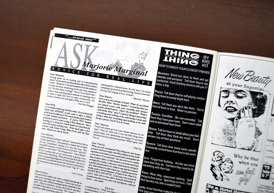 The <i>Thing</i> debut of the Marjorie Marginal advice column, from issue two in April 1990