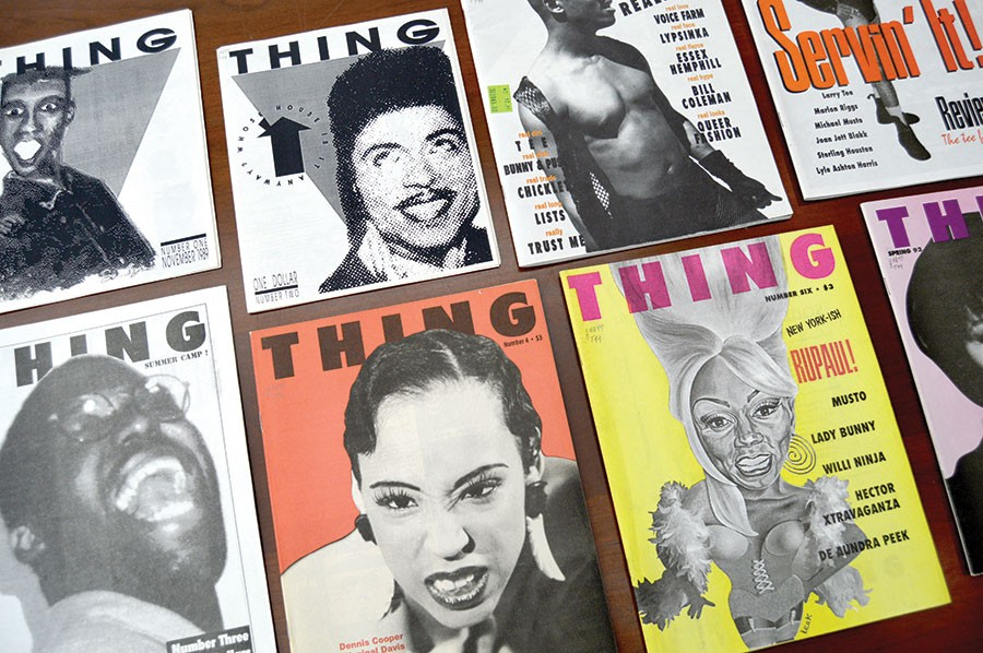 Thing published ten issues between November 1989 and summer 1993. Zine cofounder Lawrence Warren appears on the cover of the third issue, pictured here at lower left.