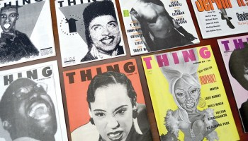 <i>Thing</i> published ten issues between November 1989 and summer 1993. Zine cofounder Lawrence Warren appears on the cover of the third issue, pictured here at lower left.