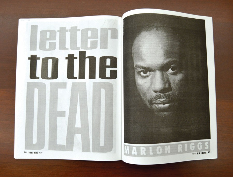 """The opening pages of Marlon Riggs's """"Letter to the Dead,"""" from the fall 1992 issue of <i>Thing</i>"""