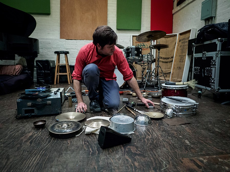 For most of the past six years, Tim Daisy has focused on exploring solo setups like this one, which includes transistor radios and portable turntables.