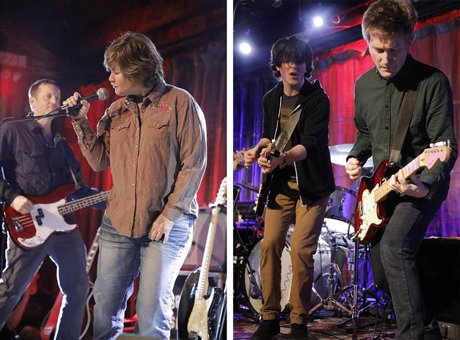 Left: Chris Kean and Tracey Bradford during a brief partial Verböten reunion at SPACE, more than 36 years after the band broke up. Right: Jason Narducy (right) shares the stage at SPACE with Kieran McCabe, who plays him in <i>Verböten</i>.