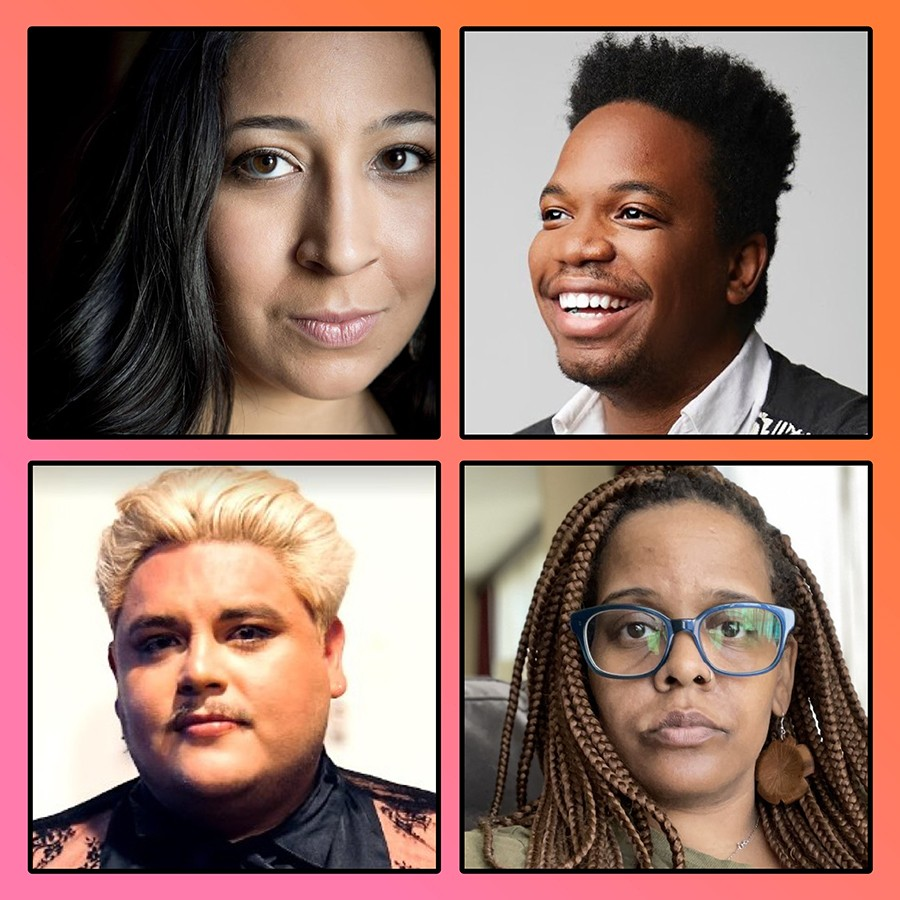 New members of Victory Gardens playwrights ensemble, clockwise from top left: Marisa Carr, Keelay Gipson, Stacey Rose, Isaac Gómez