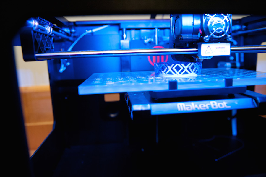 One of the library's 3-D printers