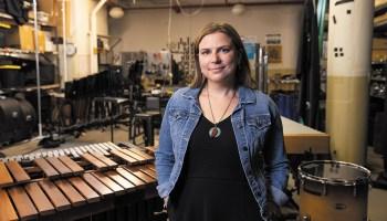 Reba Cafarelli in the Third Coast Percussion studio