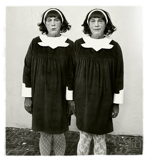 Miller and Malkovich's take on Diane Arbus's photograph <i>Identical Twins, Roselle, New Jersey, 1967</i>