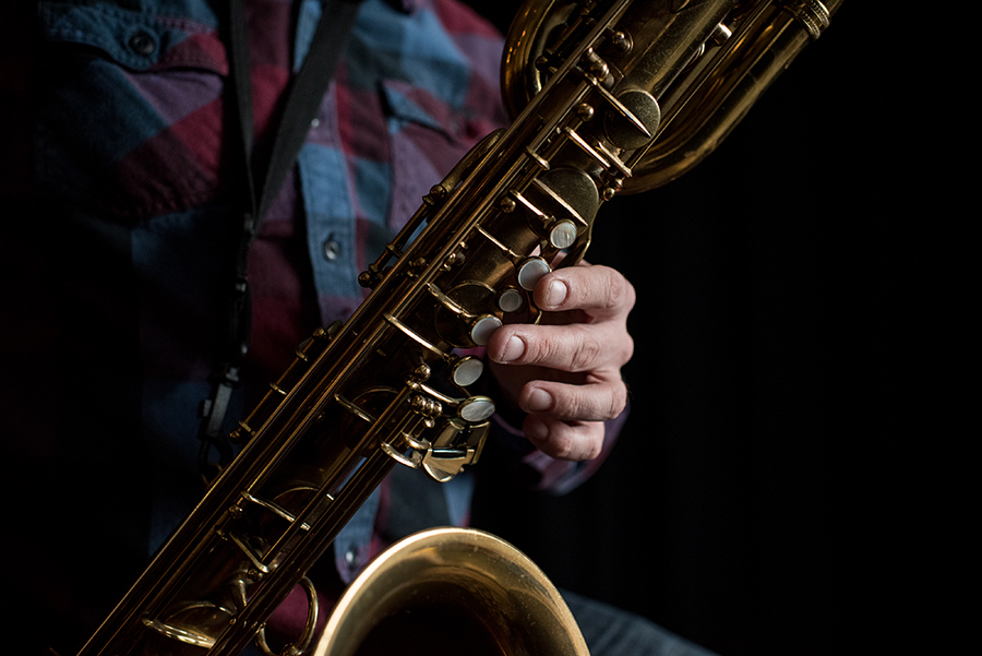 Rempis plays his baritone saxophone, a Selmer Mark VI from the mid-1950s.