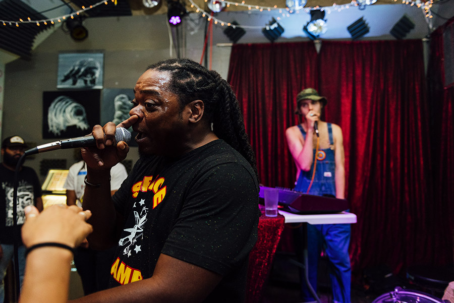 Strangers of Necessity at Open Beats: from left to right, the duo is Malcome Flex (aka Fooch the MC) and producer CoryaYo.