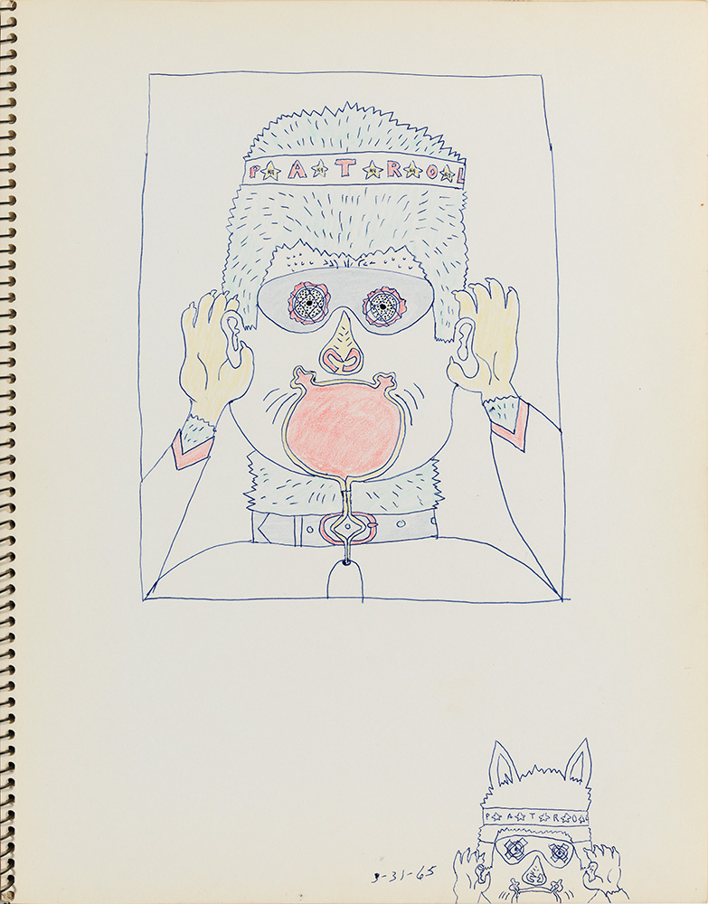 A 1965 sketch by Wirsum, one of more than 50 drawings he completed before painting <i>No Dogs Aloud</i>.