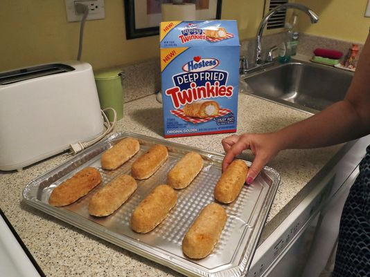 What god never intended: deep-fried Twinkies you can buy at the store.